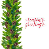 Seasons greetings text on watercolor christmas border of fir branches. And fir-cones, christmas lettering on watercolour hand painted xmas frame for greeting Royalty Free Stock Images