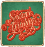 SEASONS GREETINGS vintage card (vector) Stock Image