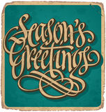 SEASONS GREETINGS vintage card (vector) Stock Images