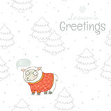 Seasons greetings. Winter card with sheep in knitted sweater Royalty Free Stock Photography