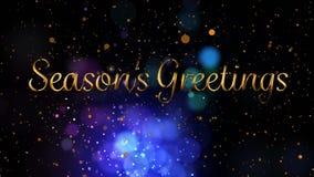 Seasons Greetings written in front of flickering lights