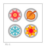 Seasons: Icon Set 01 - Version 1. 4 colored icons in a circle shaped buttons about the 4 seasons. Please check the complete set and other versions Stock Photography