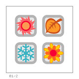 SEASONS: Icon Set 01 - Version 2. 4 colored icons in a square shaped buttons about the 4 seasons. Please check the complete set and other versions Stock Images
