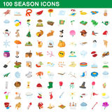 100 seasons icons set, cartoon style. 100 seasons icons set in cartoon style for any design vector illustration royalty free illustration