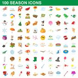 100 seasons icons set, cartoon style. 100 seasons icons set in cartoon style for any design illustration stock illustration