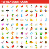 100 seasons icons set, isometric 3d style Royalty Free Stock Images
