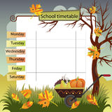 Seasons-03. Illustration with the image of autumn. Background to the training schedule Royalty Free Stock Images