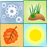 4 seasons. Images of a different season vector illustration