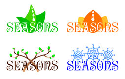 Seasons. Inscription Seasons in different options of execution Royalty Free Stock Photo
