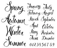 Seasons, months, and numbers. Calligraphy writing of the names of the seasons, months and numbers Stock Image