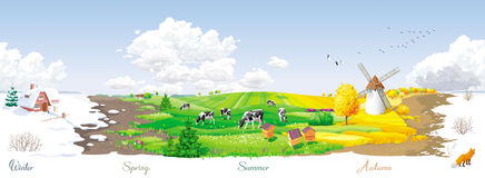 4 seasons panorama. All the year round - ecological concept - seamless landscape with four seasons winter, spring, summer, autumn of the year at a rural panorama stock illustration