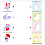 Seasons with purple dragon for kids. winter, summer, spring and Royalty Free Stock Photos