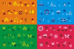 Seasons seamless patterns. 4 different seamless patterns for 4 seasons Royalty Free Stock Image