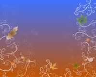 Seasons Series : Fall. Colorful leaves and swirls on a soft gradient background of lapis blue and coffee stock illustration