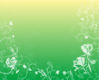 Seasons Series : Spring. Roses, wheat and swirls on a soft gradient background of gold and lime stock illustration