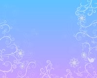 Seasons Series : Winter. Snowflakes and swirls on a soft gradient background of blue and lavendar royalty free illustration