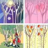 Seasons. Set of cards with landscapes for four seasons Stock Photo