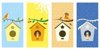 SEASONS. SMALL BIRD IN EVERY SEASON stock illustration