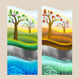 Seasons, spring and autumn, fall, seashore. Two illustrations Stock Photo