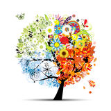 Seasons - spring, summer, autumn, winter. Art tree Royalty Free Stock Image