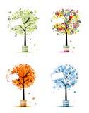 Seasons - spring, summer, autumn, winter trees stock illustration