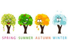 Seasons. Spring, summer, autumn, winter and trees with face Stock Images
