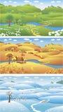 Seasons. Three seasons: summer, autumn and winter, cartoon vector illustration royalty free illustration