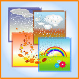 Seasons. 4 times of year winter, spring, summer, fall. Weather circulation Royalty Free Stock Images