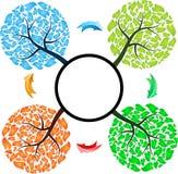 Seasons tree with arrows Royalty Free Stock Photography