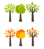 Seasons trees. Spring and autumn. illustration royalty free illustration