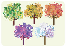 Seasons of the trees. Stylized trees illustration - concept for time, changing season Stock Photo