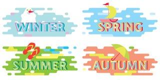 Seasons, Typographic poster, sticker. Winter Spring Summer autumn Stock Photography