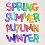 Seasons vector watercolor lettering Stock Photos