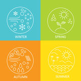 Seasons. The weather in winter, spring, summer and autumn. Round modern emblems weather all seasons. Royalty Free Stock Photography
