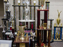 A seasons worth of marching band trophies Royalty Free Stock Photo