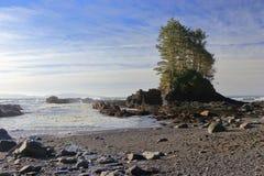Seastack y ondas de fractura en la bahía de la botánica, Juan de Fuca Marine Park, isla de Vancouver fotografía de archivo