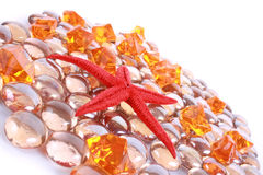 Seastar and gems Royalty Free Stock Photography
