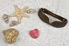 Seastar and shells. A seastar and several shells in white sand with sunglasses and a heart Stock Image