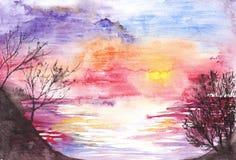 Seasunset porpora del fiume del lago di alba di tramonto dell'acquerello Immagini Stock Libere da Diritti