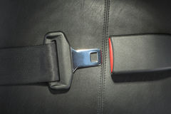 Seat belt. On black leather seat Royalty Free Stock Image
