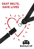Seat Belt with a Glowing Heart Vector Concept. Seat belt with a glowing outline heart and a car with family wearing safety belts. Buckle Up Awareness Campaign stock illustration