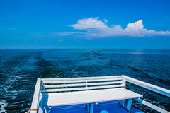 Seat on the boat at sea. stock images
