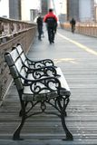 Seat on the Bridge. Take a seat on Brooklyn Bridge stock photo