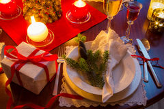Seat at the Christmas Eve table Stock Photography