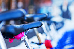 Seat of city bicycle. Oslo, Norway Royalty Free Stock Photos