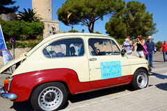 The SEAT 600 classic car parade Royalty Free Stock Photo