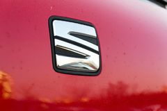 Seat company logo on car. PRAGUE, CZECH REPUBLIC - MARCH 25 2018: Seat company logo on car on March 25, 2018 in Prague, Czech Republic Royalty Free Stock Photo