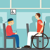 Seat for disabled.Good manners. the boy on the bus doesn& x27;t give way to disabled.etiquette.man in a wheelchair. Man in a wheelchair and boy with player Royalty Free Illustration