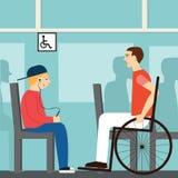 Seat dla niepełnosprawnego Dobre manier chłopiec na autobusowym doesn& x27; t ustępował niepełnosprawny etruscan Mężczyzna w wóze royalty ilustracja