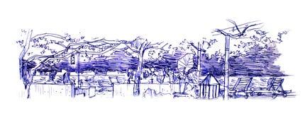Seat durch den Ozean an der Nachtillustration lizenzfreies stockfoto